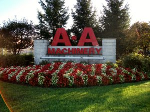 A&A Machinery front lawn logo