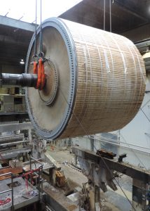 Removing 156,000#, 18' diameter x 25' long Yankee Dryer from tissue mill in Lincoln, ME for reinstallation in Canada.  Dryer was wrapped in felt and then clad for protection prior to removal
