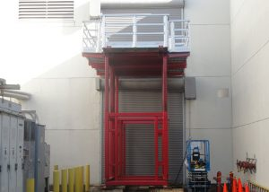 A&A designed 35,000# capacity adjustable work platform used to insert and extract equipment through upper floor penetrations.  An example of using engineered controls to accomplish work safely and efficiently