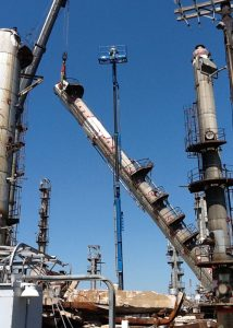 One of six (6) columns removed from refinery; the largest at 208' tall. Four (4) columns were removed and staged for reuse while two (2) were dismantled for salvage