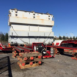 Loaded transformer onto railcar to move to other area on site, o