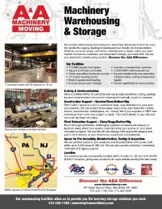 A&A Machinery Warehousing Flyer 2017