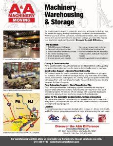 A&A Machinery Warehousing Flyer 2017