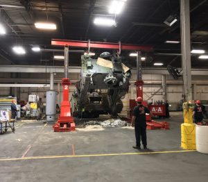 Laying over a 100,000 lb. Verson stamping press