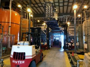Lift four (4) 14,000 lb. RO systems up to a mezzanine level to rig into place.