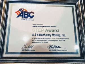 A&A Machinery ABC STEP Award recipient