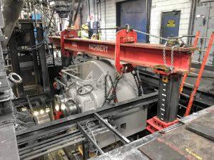50,000 lb. gear box rigging with gantry posts