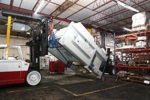 Standing up new 300T press with two Versa-Lifts